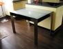 Jídelní stůl, černá lesk, nohy kartáčovaný nerez