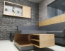 Obývací pokoj v elegantním šedém odstínu_Beton art břidlicově šedý 44405DP_Beton art perlově šedý 44375 DP_Dub drásaný SPAN 322 SWN