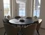 Kulatý jídelní stůl CARBON MARINE K016 PW_nábytková noha SALU MARSEILLE ČERNÝ LAK MAT
